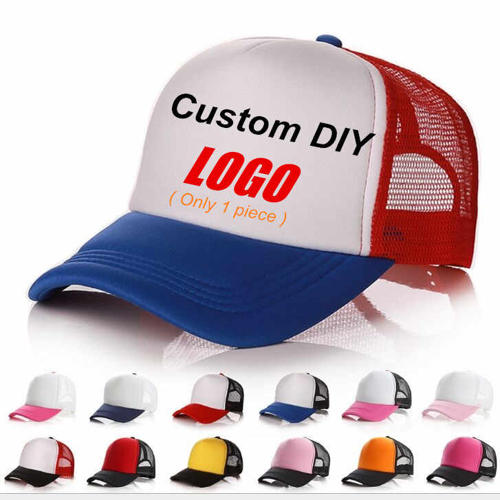92e488b62 Summer Adult Men Casual Mesh Baseball Caps New Print DIY Custom Logo Design  Snapback Hats Casquette Gorros Beach Trucker Hat