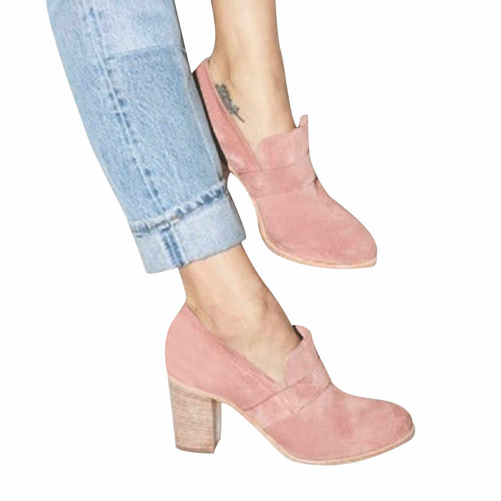 YOUYEDIAN/женские замшевые туфли на высоком каблуке с круглым носком однотонные ботинки тонкие туфли без застежки sandalias mujer 2019 cuero genuino #3