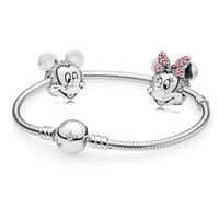 New 100% 925 Sterling Silver Bracelet Cartoon Fairy Tale Safety Clip Bracelets Set Suitable for Winter Women's Jewelry Gift