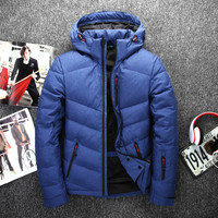 NEW Winter Down Hooded Ski Jacket Men Multiple Pockets Thicken 80 White Duck Down Jackets Down