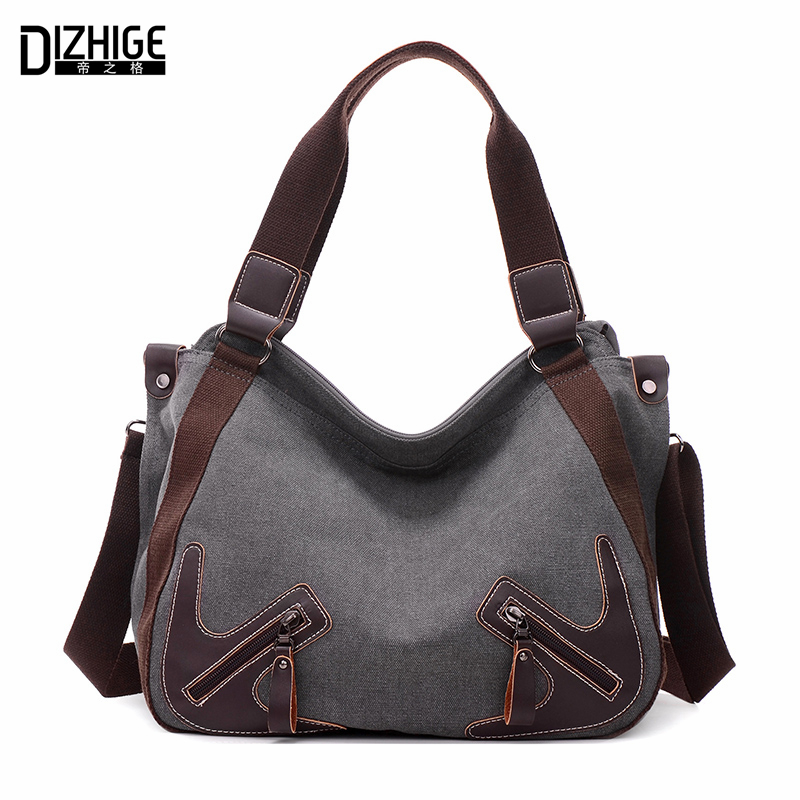 DIZHIGE Brand Casual Canva Women Bags Leather Shoulder Bag Designer Ladies Hand