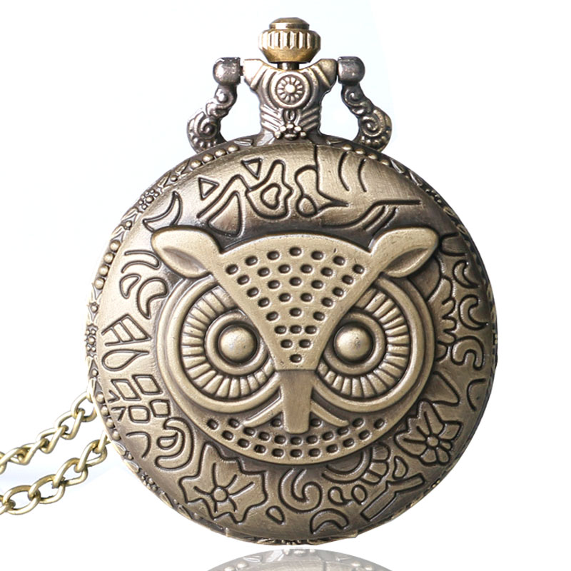 Men Women Steampunk Quartz Pocket Watch Night Owl Cute Fob Clock Bronze Antique Pendant With Necklace Chain Gift