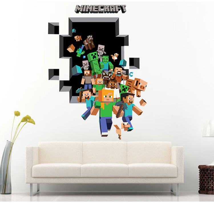 Mosaic Game Theme Minecraft Wall Sticker For Kids Room Decoration 3d Window Pvc Steve Mural Art Diy Boys Wall Decal Dropshipping(China)