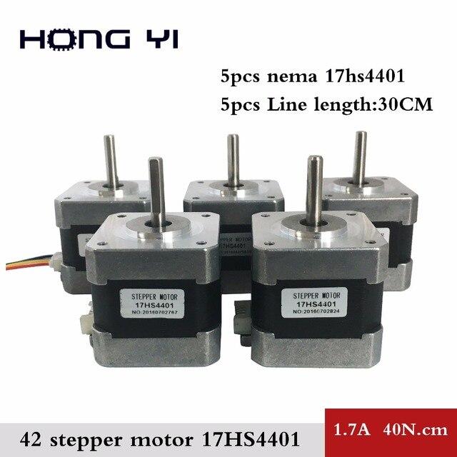Бесплатная доставка 5 шт. 17hs4401 4-привести NEMA17 Шаговые двигатели 42 Двигатель 42bygh 1.7a ce Рош iso лазера CNC Измельчить пена плазменным Cut