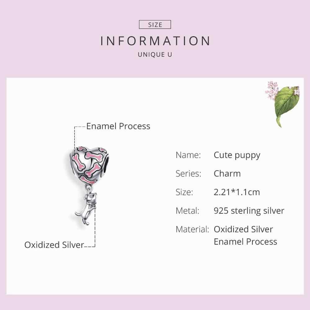 BISAER 925 เงินสเตอร์ลิงสีชมพูหัวใจ Charm จี้น่ารักลูกสุนัขสำหรับผู้หญิง Charms สร้อยข้อมือเครื่องประดับของขวัญ GXC1199