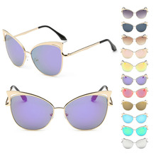Sunglasses Multi-colored Lens Exquisite Cat Eye Shape Color Lens Gold Frame UV400 Protection Sunglasses Women Eyewear Glasses