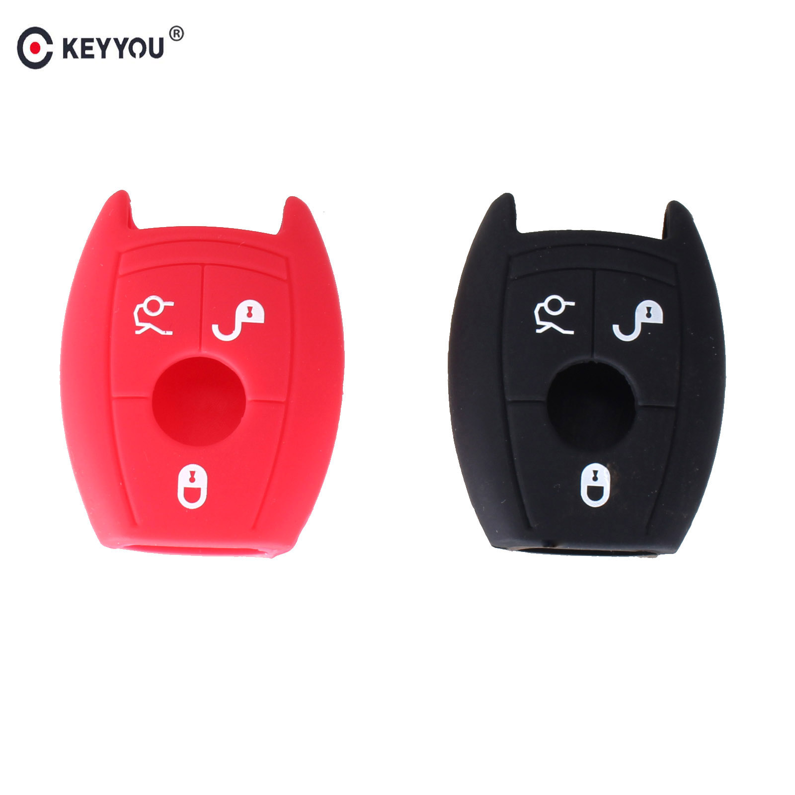 KEYYOU 3 Buttons Silicone Cover Shell Key Fob Bag For MERCEDES BENZ C CL CLK E G GL M S SLK CLASS Remote Key Case