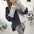 свитер женский кофта женская свитера кофты женские Короткие дизайн утолщение свитер женский зима свободные плюс размер верхняя свободная иглы основной свитер цвет блока верхняя одежда