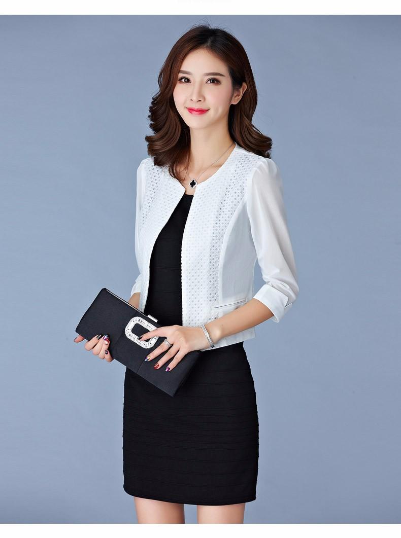 Women Black White Gauze Jacket Summer 2016 Chiffon Cardigan Sexy 34 Sleeve Plus Size Slim Jackets Office Lady Coat Tops A385  b