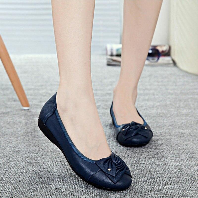 Handmade Genuine Leather Flat Shoes Women Female Casual Shoes Women Flats Shoes Slip On Leather Car-styling Flat 748hj