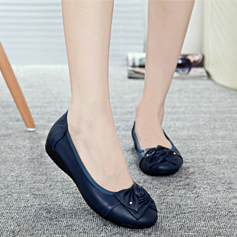 Handmade genuine leather flat shoes women female casual shoes women flats shoes slip on leather car-styling flat 748hj