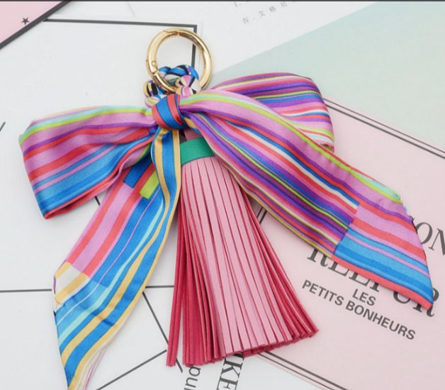 Felyskep Hot Sale Korean Style Silk Scarves Bowknot PU Leather Tassels Keychains For Women Bag or Car Pendant Keyrings A810WA ...