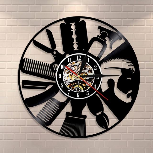 1piece Hair Salon Vinyl Record Wall Clock Art Decor Unique