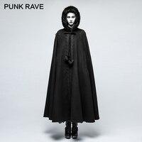 PUNK RAVE Gothic Hooded Role Cape Play Costumes Full Length Cloak Women Windproof Applique Fur Collar Decorative X Long Coats