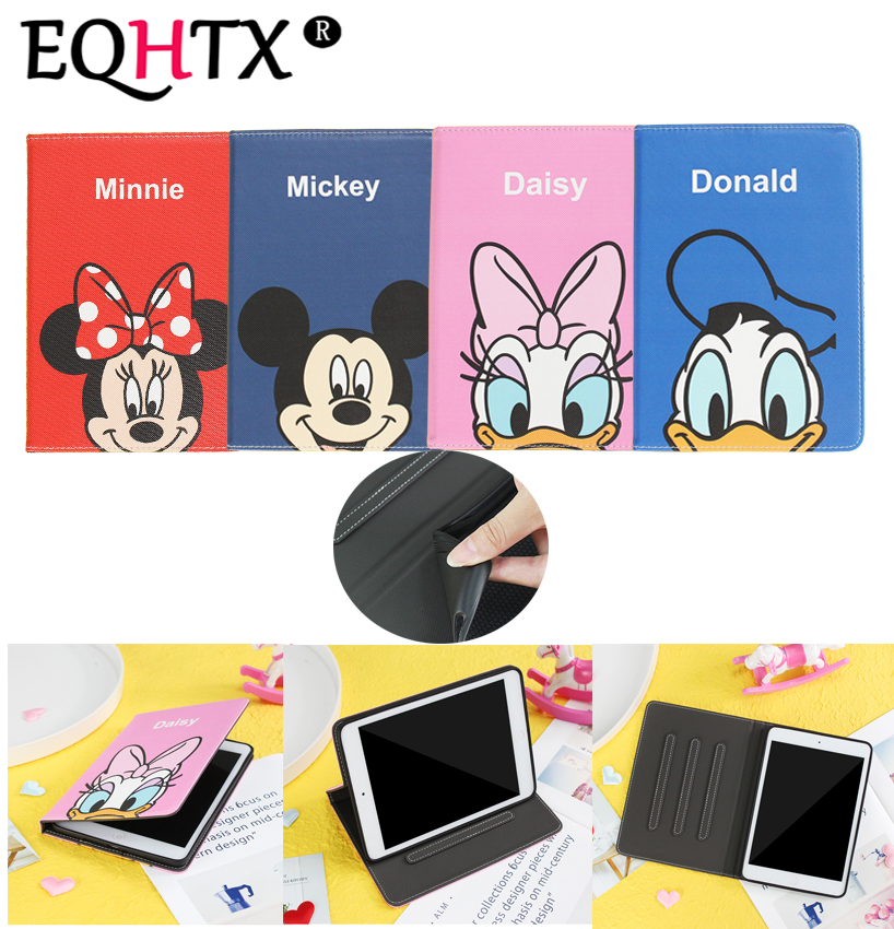 Case For New iPad 9.7 inch 2017 2018 For ipad Air 1 /Air 2 for iPad Pro 9.7 , EQHTX -Cartoon smart silicone PU leather case image