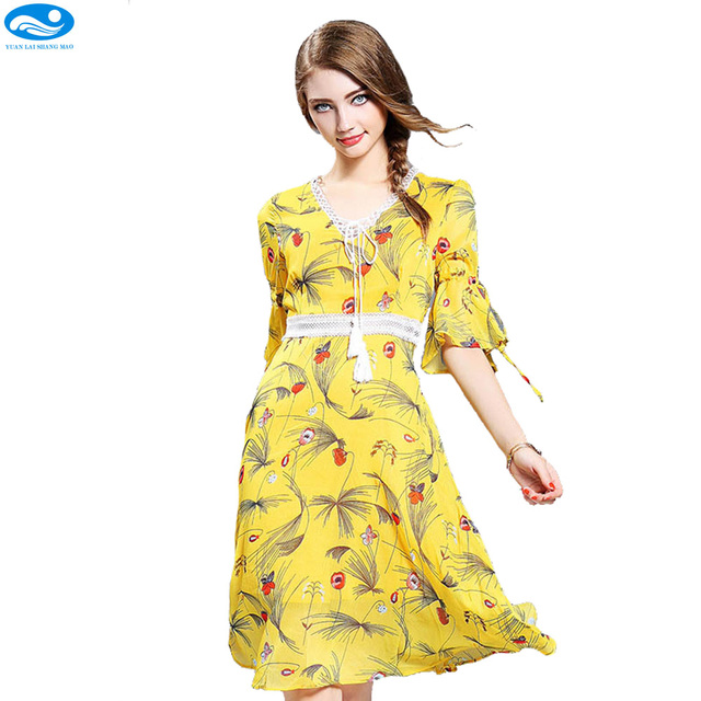 Yellow Floral Summer Dresses