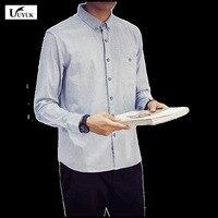 2017 yaz klasik tarzı Yeni Desen Çizgisiz üst giysi Kendini yetiştirme Şerit erkekler İnce Rahat Uzun Kollu Adam Gömlek