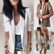 Large size Women's Blazers autumn hot Slim long sleeve solid color fake pocket lapel high quality blazer women's outerwear color block pocket hemming lapel long sleeve slimming stylish cotton blend blazer for men