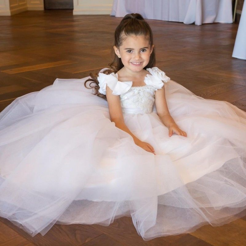 Bridesmaid Party White Flower Girl Dress Sleeveless Princess Applique Baby Dress the unknown bridesmaid