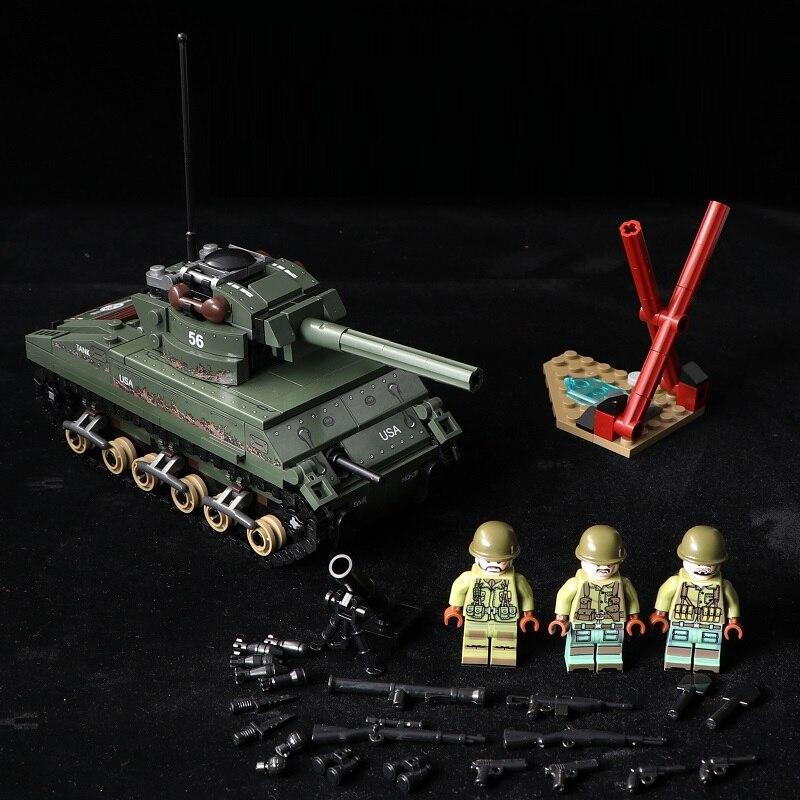 M4 Sherman Tanque brinquedos armas militares army swat Da polícia Da Cidade de mini figuras Building Block bricks brinquedos originais para crianças