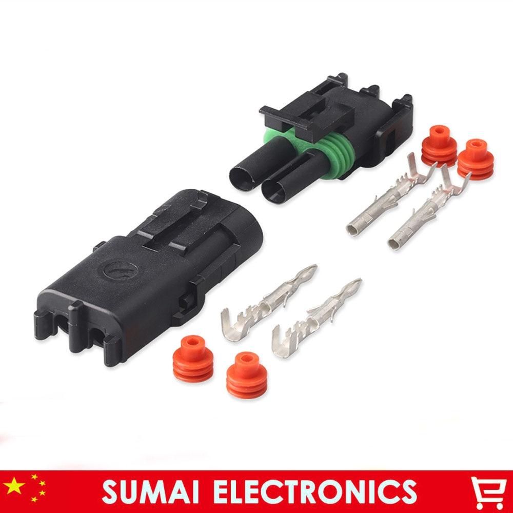 2 Pin 2.5mm delphi connector 12010973 12015792 2P Car waterproof electrical connector kit kit arm kit kit bronze - title=