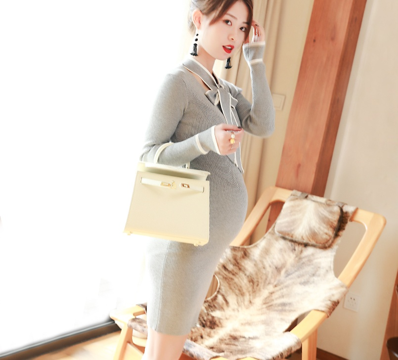 Maternity Clothes autumn fashion maternity dress knitted slim bow dresses long-sleeve Sweater Pregnancy Clothes 2018 new arrival casual style long knitted dresses women round neck three quarter sleeve patchwork women knitted sweater dress