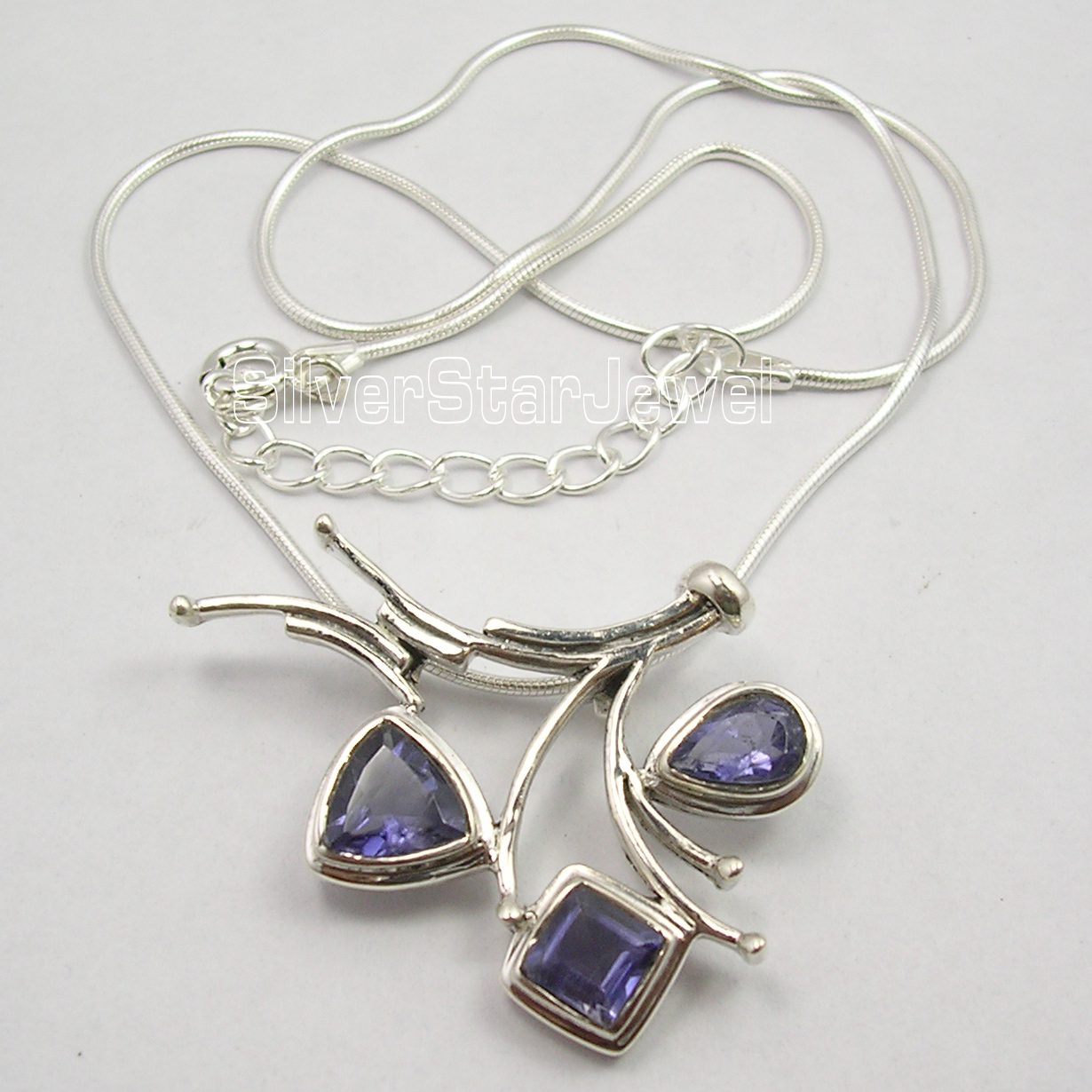 Chanti International . Solid Silver FACETED IOLITE LADIES' EXTRA ORDINARY Necklace 18.5 Inches NEW xishixiu 11 16 inches
