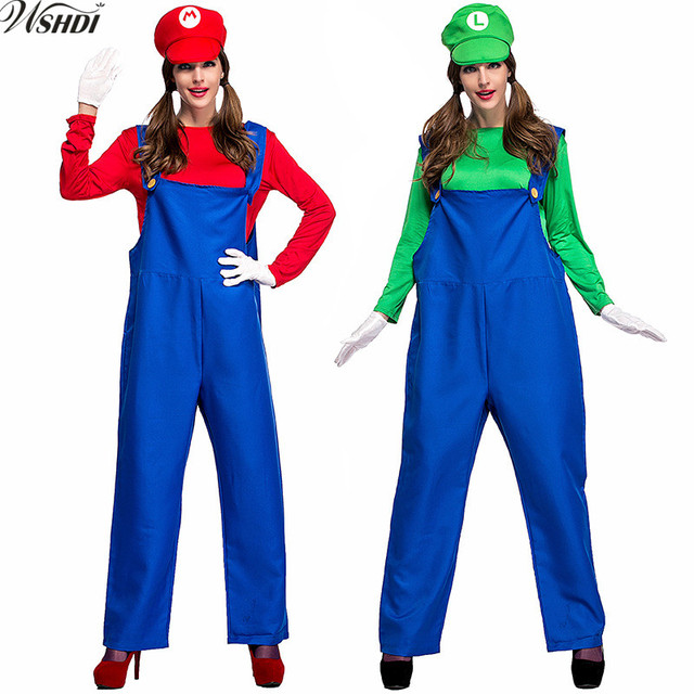 halloween costumes women super mario luigi brothers plumber costume jumpsuit fancy cosplay clothing for adult women