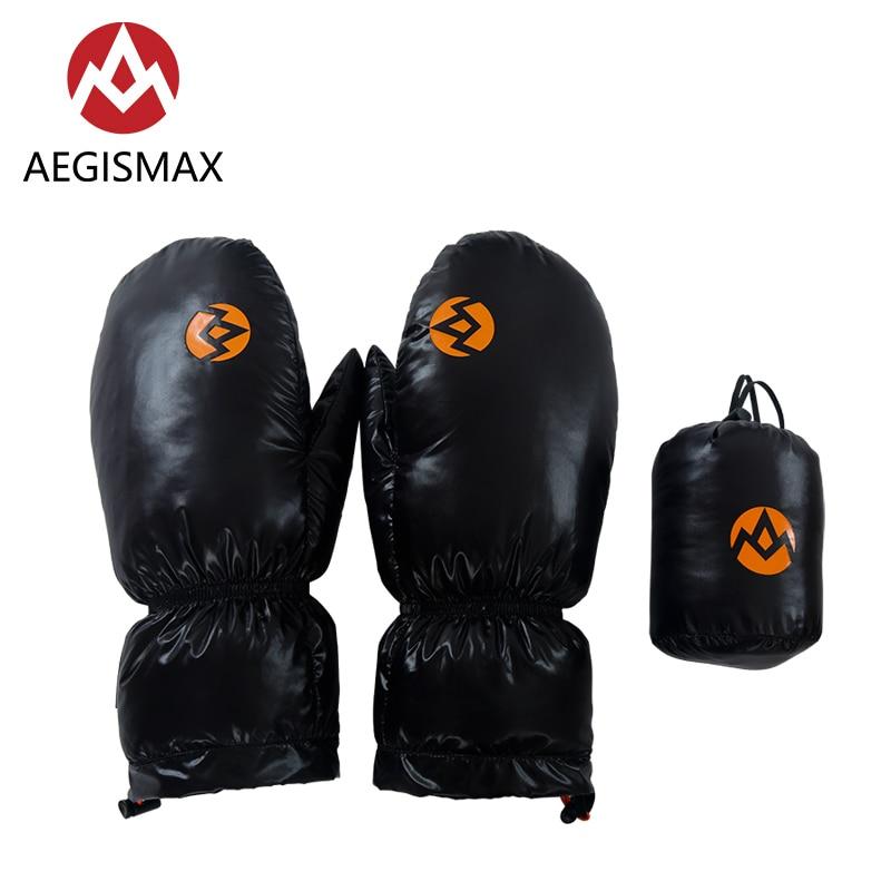 AEGISMAX зимние теплые ветрозащитные нейлоновые 95% белые перчатки на гусином пуху варежки для катания на лыжах, сноуборде, велоспорта, туризма, ...