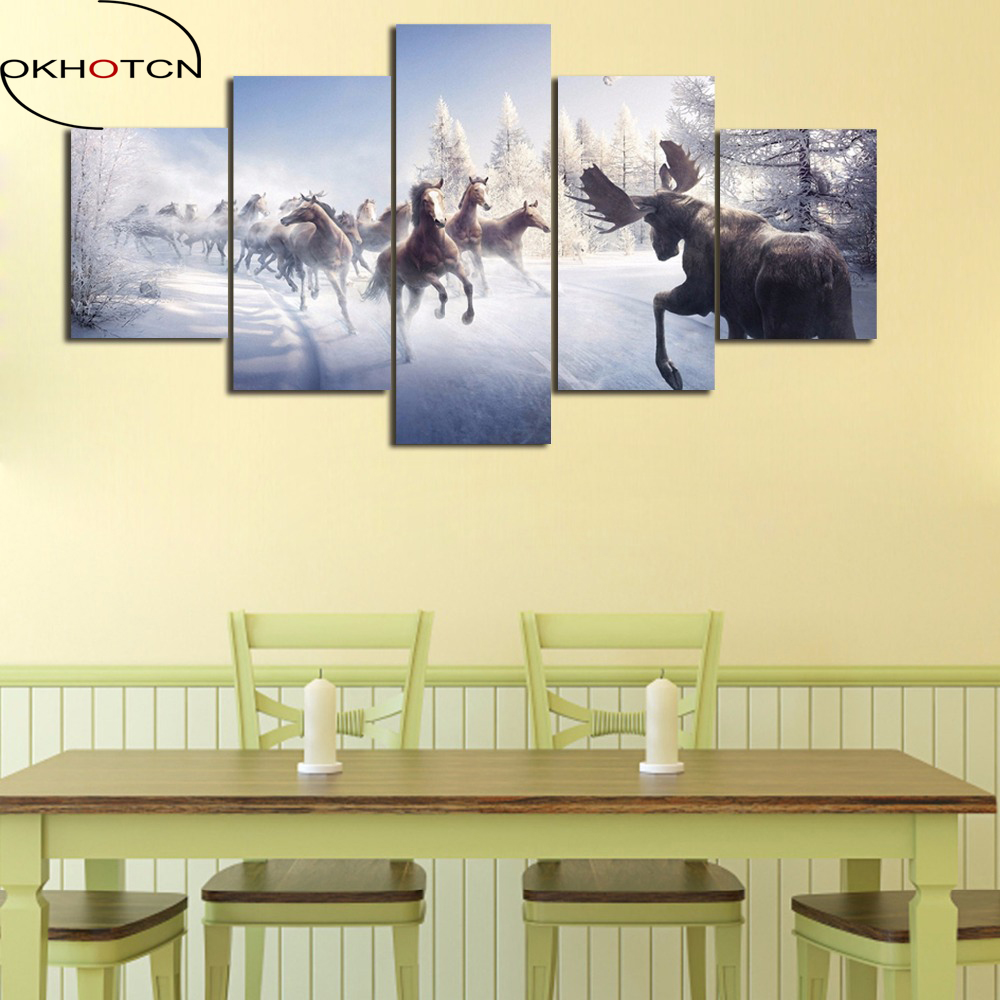 Buy modern canvas 5 pieces horse and get free shipping on AliExpress.com