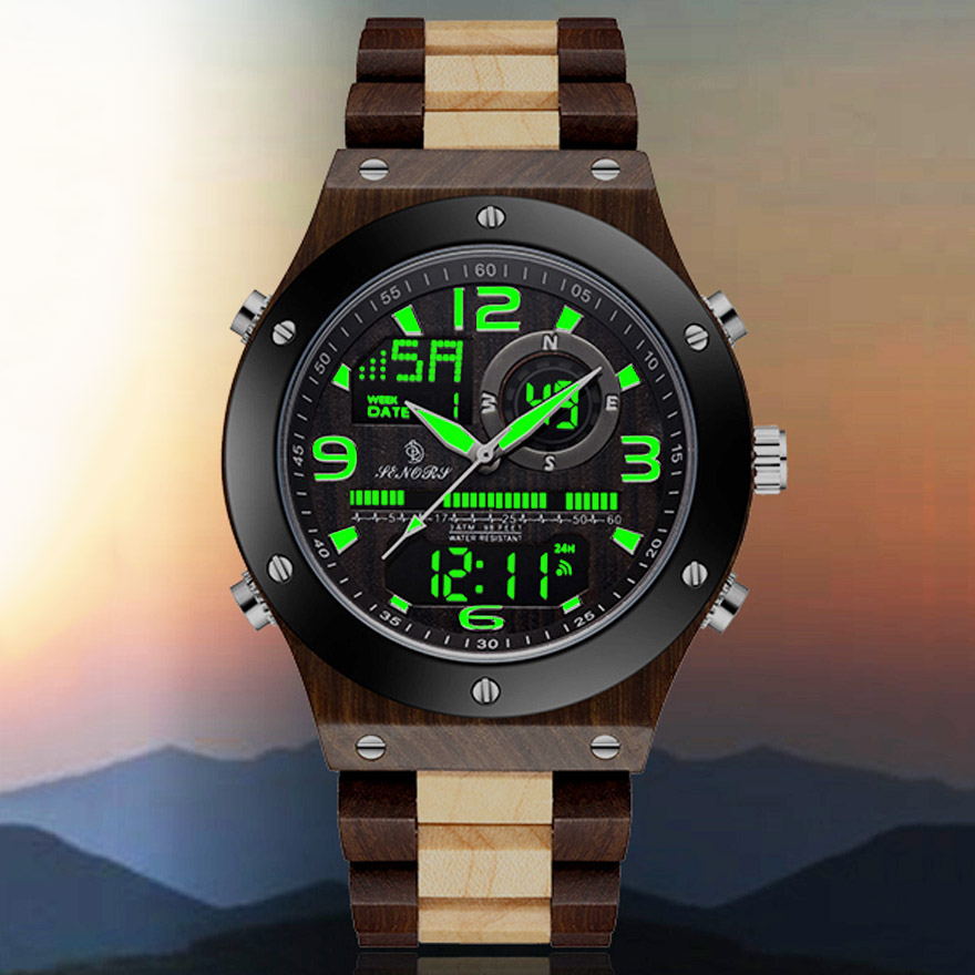 Natural Real Wooden Men Watches Men Dual Display Digital Wristwatch Relogio Masculino Solid Wooden Watches Male Back Light Clock(China)