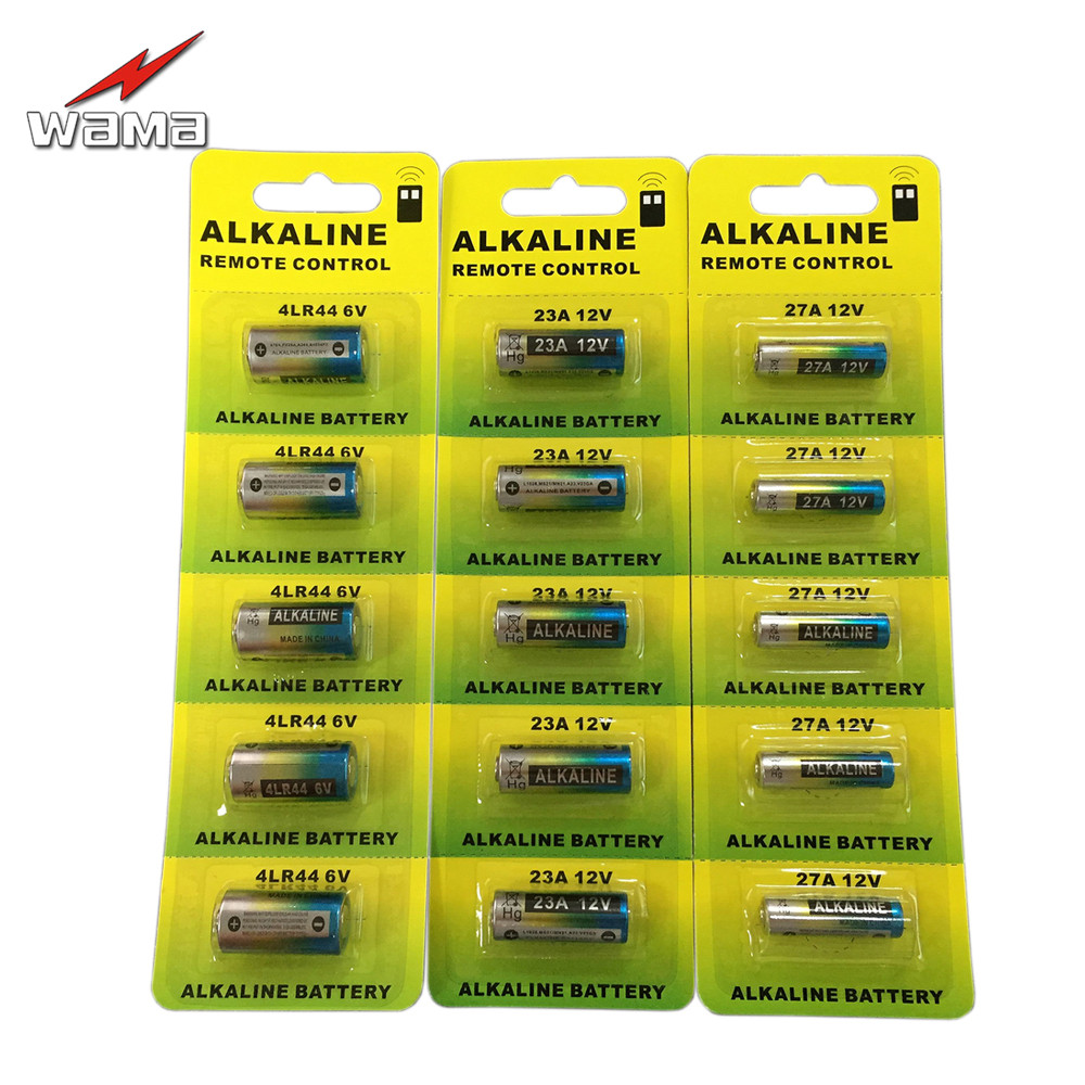 5x 23A <font><b>12V</b></font>+5x 27A <font><b>12V</b></font>+5x 4LR44 6V of Wama Alkaline Primary Dry <font><b>Batteries</b></font> Car Remote Electronic <font><b>Battery</b></font> Wholesales Price PVC <font><b>Pack</b></font> image