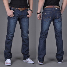 spring summer men fashion blue pocket straight jeans young men boys casual jeans(China)