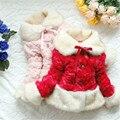 2016 Primavera e No Outono de algodão das crianças vermelho e branco Turn-down Collar casaco Outerwear bebê