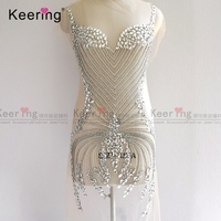 New Very Beautiful Bling Peacock shape Big Shiny Glass Stone Rhinestone Wedding Dress Applique WDP 151