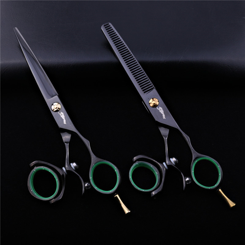6.0 Inch Black Hair Cutting/thinning 360 Degree Rotate Swivel Scissors Set Salon Flying Shears Hairdressing Scissors For Barber