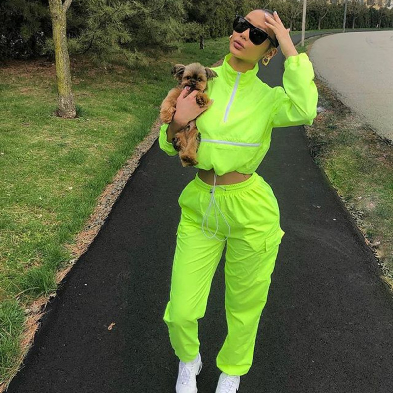 2019 Women Zip Turtleneck Long Sleeve Top Short Safari Long Straight Pants Suits Two Pieces Set Sportwear Tracksuit Neon Outfit