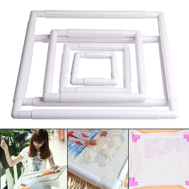 1PC Embroidery Plastic Frame Sewing Tools Handhold Square Shape Hoop ...