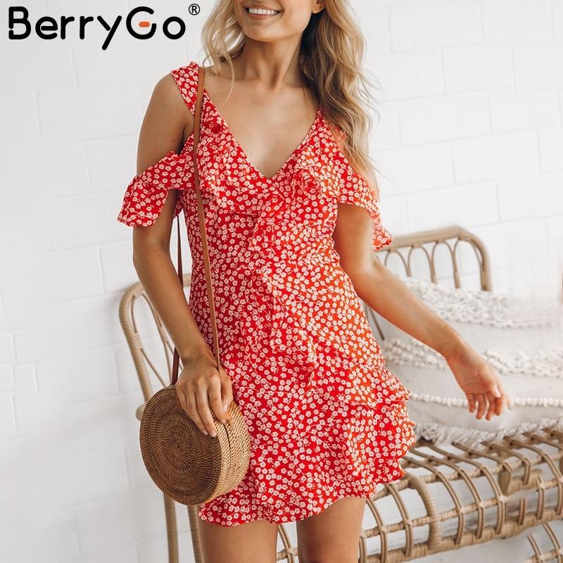 BerryGo Sexy scollo a V stampa floreale del mini vestito volant volant cinghia abito estivo corto Backless spalla fredda beach vestido de festa