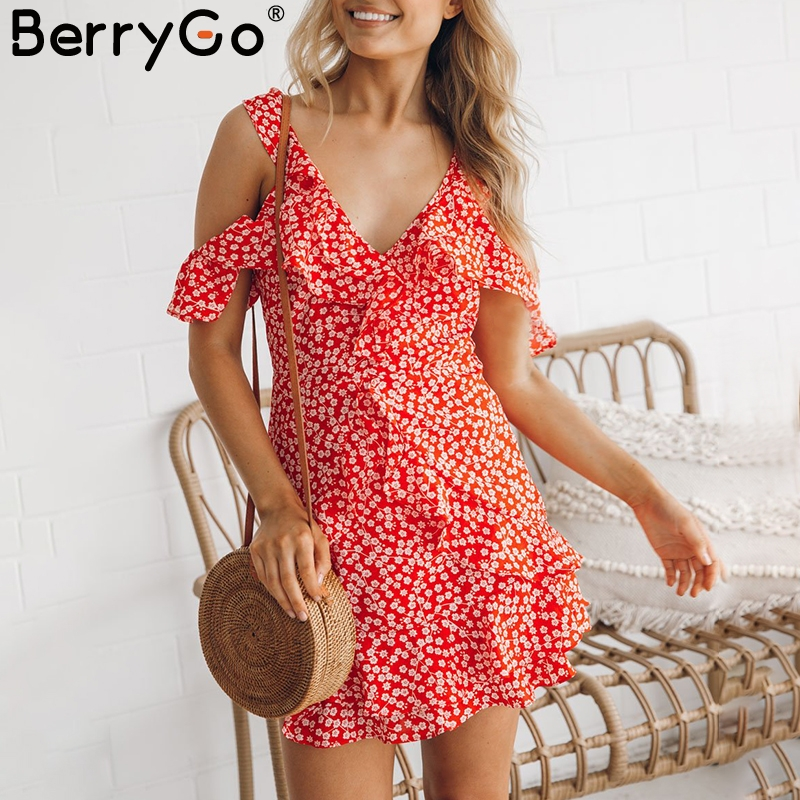 BerryGo Sexy V neck floral print mini dress Ruffle frill strap short summer dress Backless cold shoulder beach vestido de festa