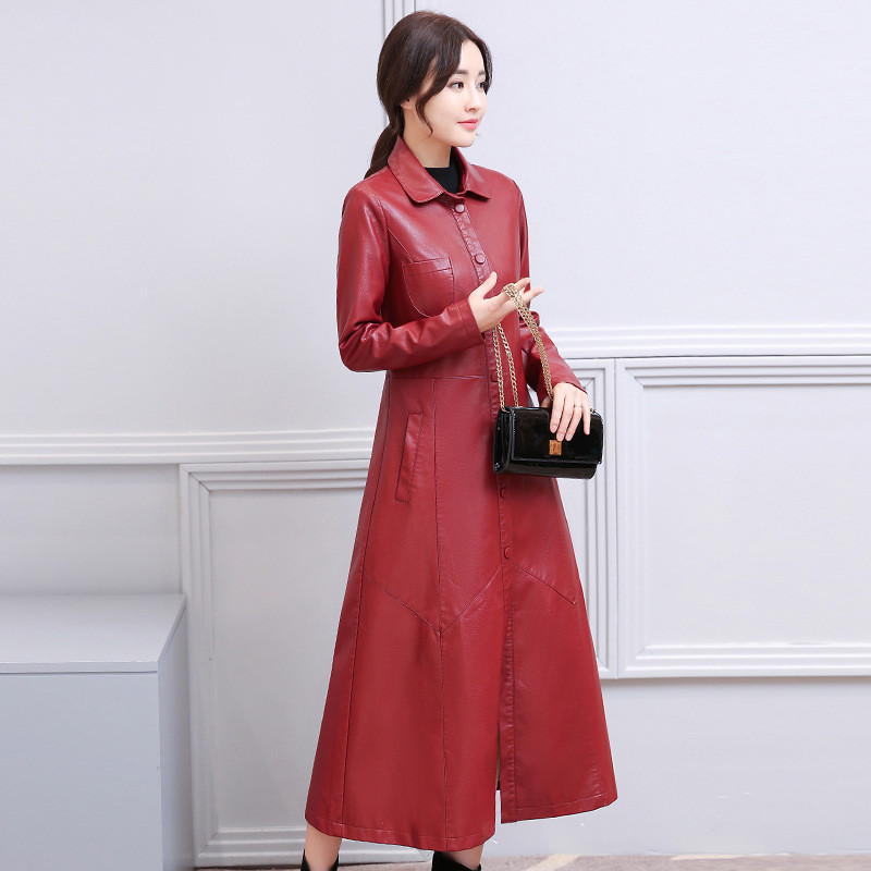 Thick Long Autumn/Winter Pu Trench Coat Casual Slim Overcoat Leather Trench Plus Size Single-breasted Windbreaker 4XL TT3679
