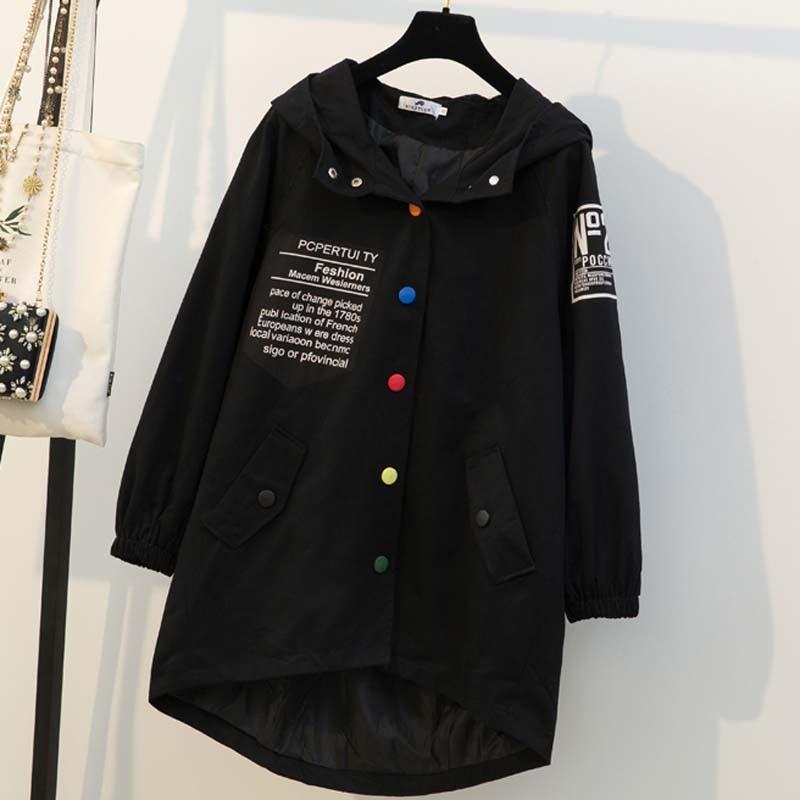 Femmes Taille Rue Noir Chaud Mode Imprimé Veste Décontracté Black Capuche Grande 2018 De Nouvelle À Manteau D'hiver gfFzq7