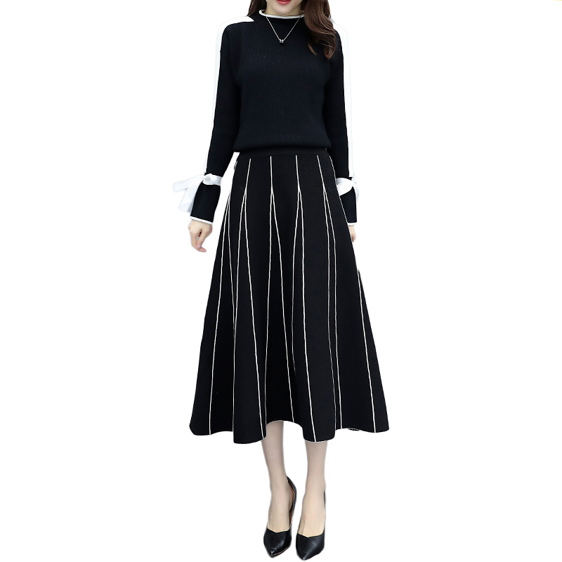 Plus Size Black Women Knitted Two Piece Sets Bow Tie Sweater And Long Skirt Suits Sets Winter Casual Elegant Vintage Ladies Sets 33