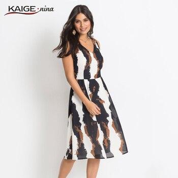 1c30a255e11 ... До Колена Длина Нарядное платье без рукав... Kaigenina новые модные  женские туфли летнее платье богемный шифона с принтом v-образным вырезом  Платье