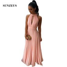Pink Chiffon A-Line Bridesmaid Dresses Long 2018 High Neck Keyhole Front  Sexy Wedding Party 7b0bfb1425e6