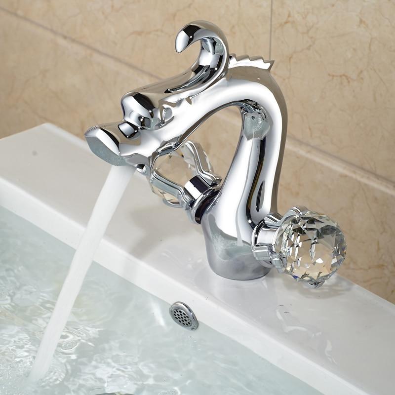 цена на Polished Chrome Dual Handle Bathroom Vessel Sink Mixer Faucet Deck Mount Brass Dragon Style Basin Mixer Taps