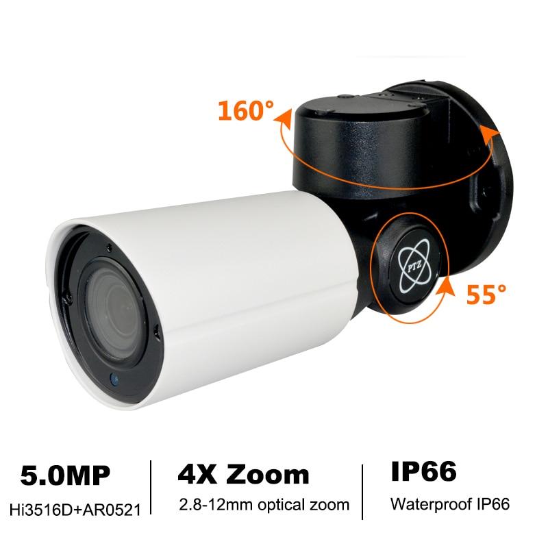 POE 5.0MP 4.0MP Мини PTZ IP Камера H.265 H.264 ONVIF Открытый IP66 4X Оптический зум ИК 50 м P2P видеонаблюдения Onvif Водонепроницаемый CCTV
