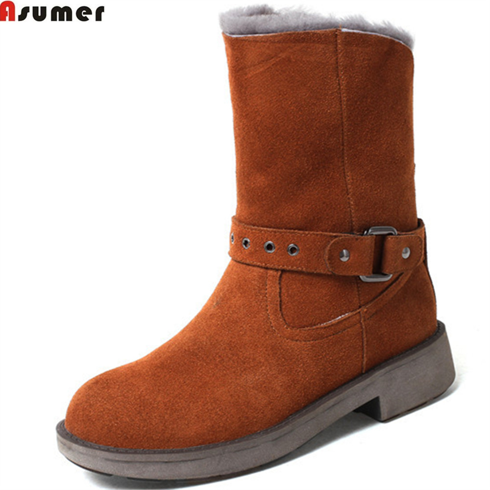 Asumer black brown fashion women boots round toe slip on ladies cow suede snow boots square heel keep warm leather ankle boots memunia fashion women boots round toe genuine leather boots zipper square heel wool keep warm cow leather mid calf boots