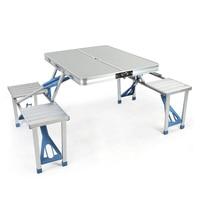 Aluminum Alloy For Garden Camping Picnic Portable Outdoor Folding Picnic Table With 4 Seats And Umbrella