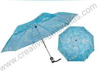 Three fold auto open&auto close paper print umbrellas,Van Gogh oil painting parasol canvas Sunflowers&Almond trees blossom